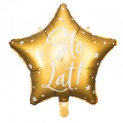 BALON urodzinowy gwiazda 40cm Sto Lat ZŁOTY