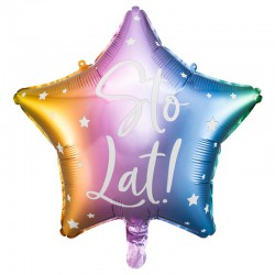 BALON urodzinowy gwiazda 40cm Sto Lat TĘCZOWY