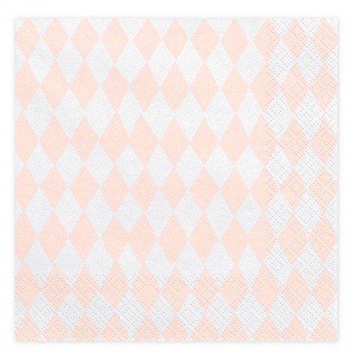 SERWETKI papierowe na urodzinki Jasnoróżowe Romby 33x33cm 20szt