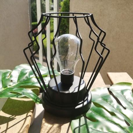 LAMPION metalowy na balkon LED druciany czarny 18cm