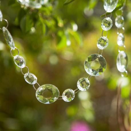 GIRLANDA kryształowa na balkon duże i małe kryształki