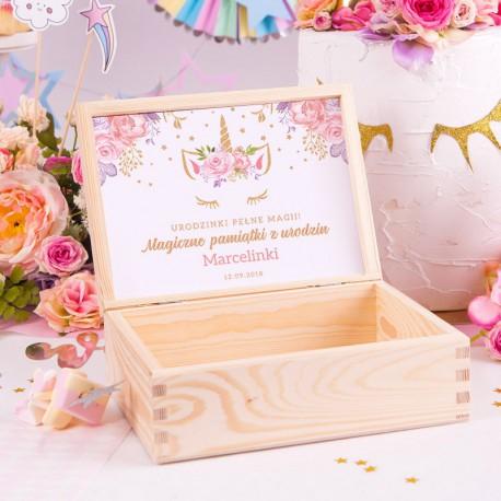 SKRZYNKA drewniana na pamiątki z urodzin Unicorn Jednorożec