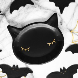 TALERZYKI na Halloween Czarny Kot 20cm 6szt