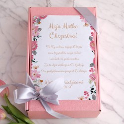 PODZIĘKOWANIE dla Chrzestnych na Chrzest Box Z IMIENIEM Różowy I MAŁY