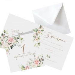 ZAPROSZENIA na Roczek Kwiaty Rustykalne 10szt (+koperty)