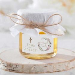 MIÓD podziękowanie Rustykalny Chrzest z wianuszkiem Z IMIENIEM (bszn)