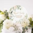 TOPPER na tort Chrzest Białe Kwiaty Z IMIENIEM