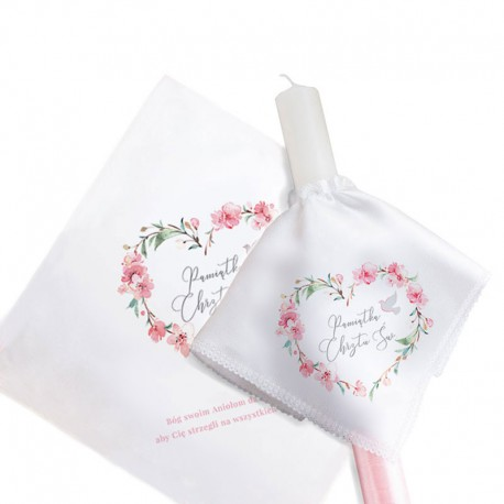 KOMPLET świeca do chrztu+chusteczka Różowe Serce UNIWERSALNY 15% taniej