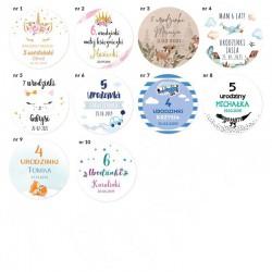 NAKLEJKI etykiety z imieniem dziecka na urodziny 1szt