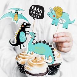 KARTECZKI na piku kolorowe dinozaury 5szt