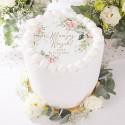 OPŁATEK personalizowany na tort na Roczek Ø20cm Kwiaty Rustykalne