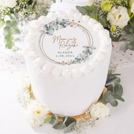 OPŁATEK personalizowany na tort na Roczek Ø20cm Wianuszek z Eukaliptusem