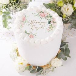 OPŁATEK uniwersalny na tort na Roczek Ø20cm Kwiaty Rustykalne
