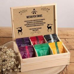PREZENT Świąteczny w skrzyni Z PODPISEM Herbaciarka 36 herbat