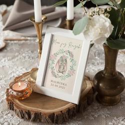 DEKORACJA stołu na Roczek Z IMIENIEM Zajączek w wianuszku (+ramka)