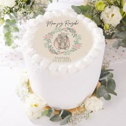 OPŁATEK na tort na Roczek Z IMIENIEM Zajączek w wianuszku Ø20cm