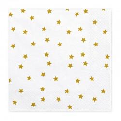 SERWETKI na Roczek i urodziny białe w złote gwiazdki 33x33cm 20szt
