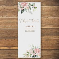 DEKORACJA sali na Chrzest personalizowana + listwa 60x150cm Pudrowe Kwiaty