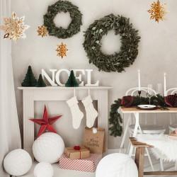 GIRLANDA świąteczna zawieszki Złote Śnieżynki 3D 6szt