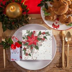 SERWETKI świąteczne Poinsecja Eleganckie 33x33cm 20szt