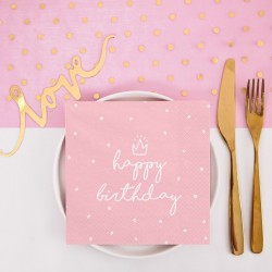 SERWETKI na Roczek i urodziny Happy Birthday RÓŻOWE 33x33cm 20szt