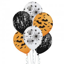 ZESTAW balonów na Halloween 30cm 6szt