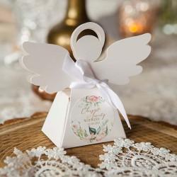 PUDEŁECZKA Aniołek na Chrzest Z IMIENIEM Pudrowe Kwiaty 10szt (+wstążki)