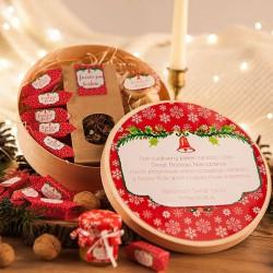 KOSZ prezentowy świąteczny w pudełku z ŻYCZENIAMI od Ciebie Czerwone Święta