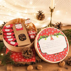 KOSZ prezentowy świąteczny firmowy w pudełku z ŻYCZENIAMI od Ciebie Czerwone Święta