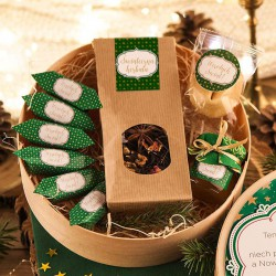 KOSZ prezentowy świąteczny firmowy w pudełku z ŻYCZENIAMI o Ciebie Zielone Święta