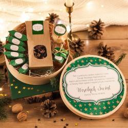KOSZ prezentowy świąteczny w pudełku z ŻYCZENIAMI o Ciebie Zielone Święta