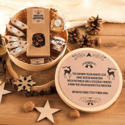 KOSZ prezentowy świąteczny w pudełku z ŻYCZENIAMI od Ciebie Zimowy Wieczór