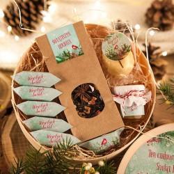 KOSZ prezentowy świąteczny firmowy w pudełku z ŻYCZENIAMI od Ciebie Zimowy Ptaszek