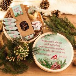 KOSZ prezentowy świąteczny w pudełku z ŻYCZENIAMI od Ciebie Zimowy Ptaszek
