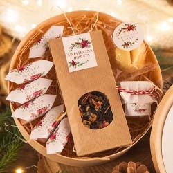 KOSZ prezentowy świąteczny firmowy w pudełku z ŻYCZENIAMI od Ciebie Poinsecja