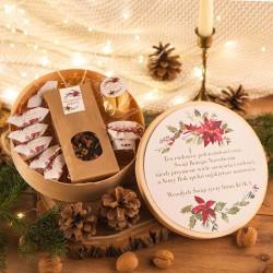 KOSZ prezentowy świąteczny w pudełku z ŻYCZENIAMI od Ciebie Poinsecja
