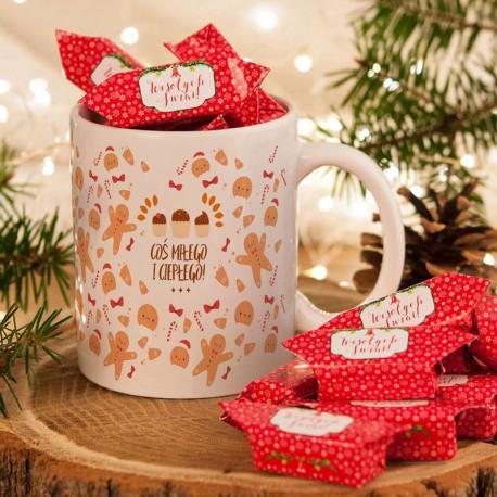 PREZENT świąteczny Kubek+krówki Z IMIENIEM Pierniki