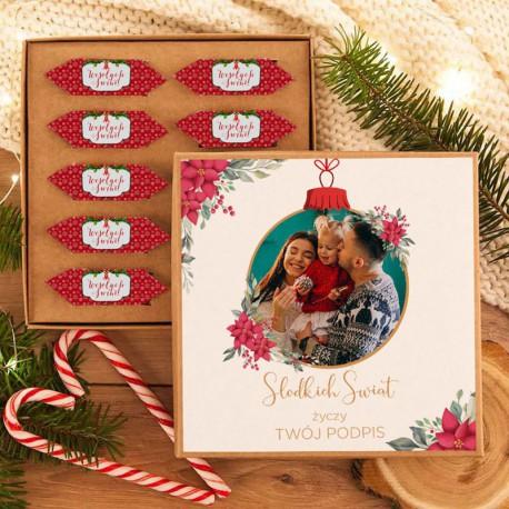 PREZENT świąteczny Pudełko z krówkami ZE ZDJĘCIEM Słodkich Świąt