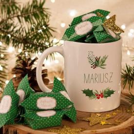 PREZENT świąteczny Kubek+krówki Z IMIENIEM Wesołych Świąt