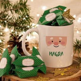PREZENT świąteczny Kubek+krówki Z IMIENIEM Mikołaj