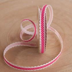 WSTĄŻKA tasiemka ozdobna Kropeczki 6mmx10m Różowa