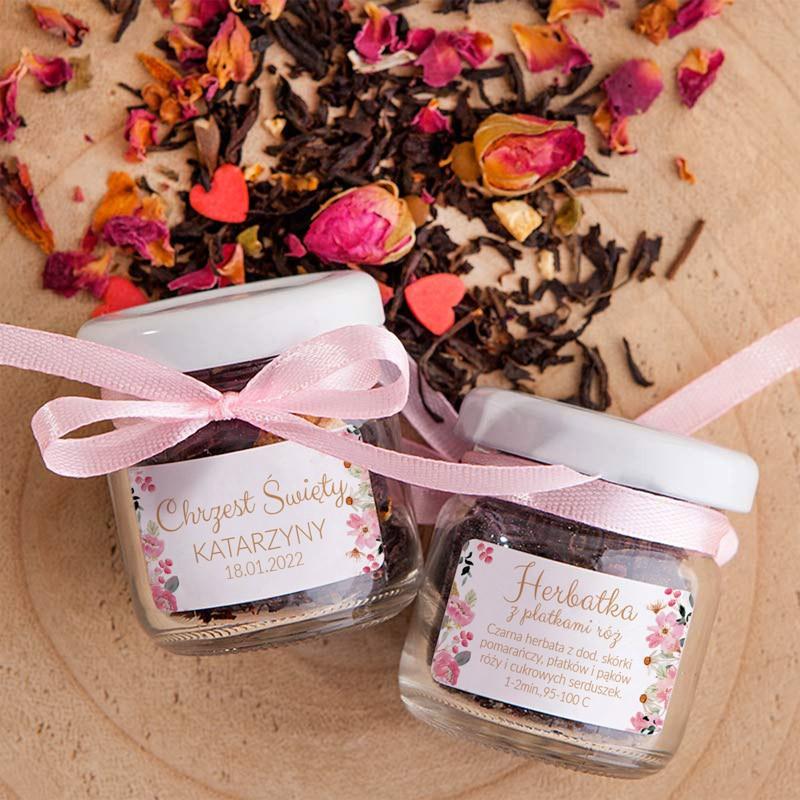 Herbatka z płatkami róży w słoiczku z imieniem dziecka