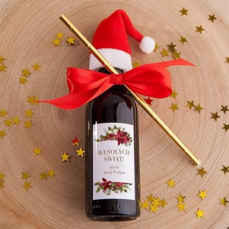 WINO świąteczne czerwone Z Czapeczką Z PODPISEM Poinsecja