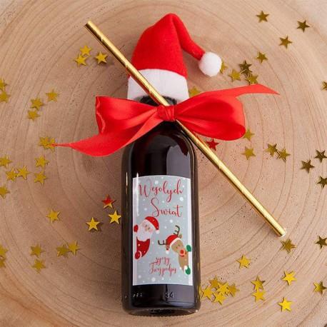 WINO świąteczne czerwone Z Czapeczką Z PODPISEM Mikołaj