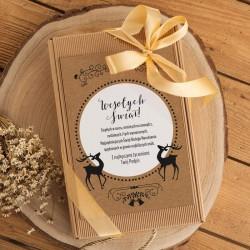 KOSZ prezentowy świąteczny Z PODPISEM Miód, kubek i herbata KRAFT