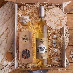 KOSZ prezentowy świąteczny Z PODPISEM Zestaw Kraft z winem LUX