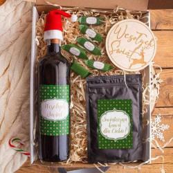 KOSZ prezentowy świąteczny Z PODPISEM Zestaw Zielony Wino i kawa LUX