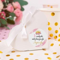 PUDEŁECZKA serca Mała Księżniczka (+etykiety z imieniem+białe wstążki) 10szt