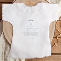 SZATKA do Chrztu z imieniem i datą Srebrny Krzyżyk BIAŁA