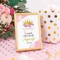 DEKORACJA stołu na Roczek i Urodziny Tabliczka Mała Księżniczka (+złota metalowa ramka)